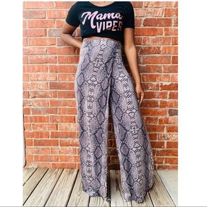 Pants - Snakeprint trousers with skirt overlay